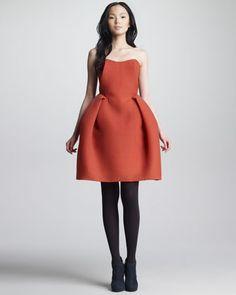 Carvan. Wool Gazar Bustier Dress in Orange/Red.   obsessing this silhouette.