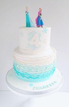 Frozen birthday cake with ruffles via Swirls Bakery in Nottingham.