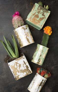 Gotta love the rustic beauty of these gold-leaf planters. #DIY