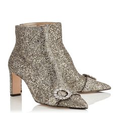 Jimmy Choo Hanover Glitter Bootie with crystal buckle Holiday Shoes, Buckle Boots, Jimmy Choo Shoes, Pretty Shoes, Fashion Heels, Ankle Booties, Womens Fashion, Glitter Fabric, Chai