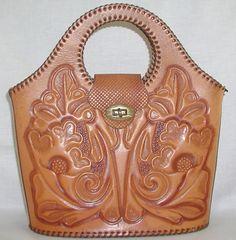 Vintage tooled leather tote, 1970's