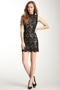 Mandarin Collar Sleeveless Lace Dress at Marisa in blue, black, cream, red and more #cocktail #lace Marissa Newtown