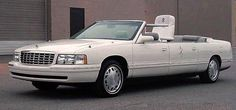 http://chicerman.com  carsthatnevermadeit:  1999 Cadillac DeVille Papal Limousine (unused). This lavish parade car was built for Pope John Paul II to ride in as he entered the Estadio Azteca in Mexico. Lengthened and modified it was equipped with an elevated platform for the papal seat wide doors retractable steps and official Vatican seals and flags. Although General Motors de Mexico began work on the car Cadillac contracted with the American coach-building firms of Eureka Coach and Roush…