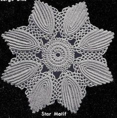Discover thousands of images about Vintage Crochet PATTERN Motif Bedspread Sunburst Leaf Crochet Leaf Patterns, Vintage Crochet Patterns, Crochet Leaves, Lace Patterns, Crochet Flowers, Crochet Stitches, Knitting Patterns, Crochet Table Runner, Crochet Tablecloth