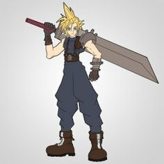 How To Draw Cloud Strife Flat Colors