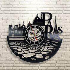 Paris vinyle mur record horloge : Accessoires de maison par vinylevolution