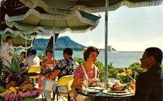 1964 - Coral Lanai Terrace. Halekulani Hotel, Waikiki Beach.