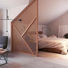 Ideas about Home Design for And the most liked photo of 2016 was this beautiful timber partition in a residential project designed by Zrobym Architects TLP Design head to the link in our bio to be the first to experience our website when it goes live! Apartment Bedroom Decor, Home Bedroom, Cozy Apartment, Bedroom Ideas, Room Divider Ideas Bedroom, Bedroom Inspiration, Apartment Living, Bedroom Wall, Interior Inspiration