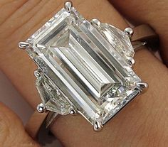 Items similar to Reserved. Not Avail For Purchase. GIA Estate Vintage Large Emerald Cut Diamond 3 Stone Engagement Wedding Platinum Ring on Etsy Diamond Rings, Diamond Jewelry, Diamond Cuts, Jewelry Rings, Diamond Bracelets, Engagement Ring Cuts, Vintage Engagement Rings, Solitaire Engagement, Minions