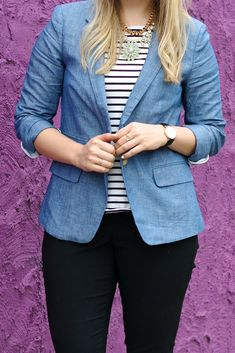 Take a look at the best outfits with denim jeans in the photos below and get ideas for your college fall outfits Perfect Denim Jacket // Cropped Denim Jacket // Closet Staple Piece // White Jeans Outfit // Nautical… Continue Reading → Blazer Outfits, Preppy Outfits, Fall Outfits, Fashion Outfits, Work Outfits, Denim Outfits, Fashion Tips, Fashion Trends, Chambray Blazer