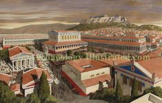 Agora of ancient Athens in the 2nd century AD. Reconstruction by Balage Balogh/Archaeologyillustrated.com based on  a photo and meticulous research of excavations of the past 100 years as well as existing ideas of the elevation of some buildings.