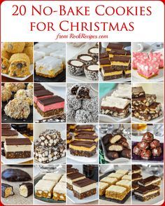 No Bake Christmas Cookies - 15 easy recipes that are freezer friendly too! No Bake Christmas Cookies - 15 easy recipes that are freezer friendly too! A collection of popular no bake cookies that are perfect for Christmas treats. Rock Recipes, Vegan Recipes, Easy Recipes, Amazing Recipes, Popular Recipes, Christmas Desserts, Christmas Treats, No Bake Christmas Cookies, Christmas Holidays