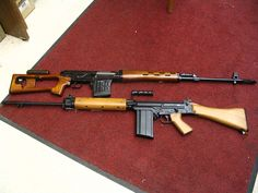 DRAGUNOV above in 7.62 X 54 (I have always wanted one of these).... FN FAL in 7.62 X 51 below. - http://www.rgrips.com/tanfoglio-match/1111-tanfoglio-force.html