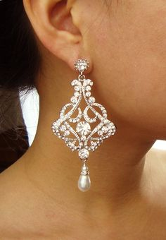 Vintage Wedding Bridal Earrings, Rhinestone Chandelier Earrings, Ivory Bridal White Pearl Earrings, Wedding Bridal Jewelry, ALESSANDRA. $78.00, via Etsy.