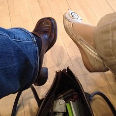 whose shoes? by julochka, via Flickr | #feetfriday #feet #shoes #tan #blue #grey #iphoneography