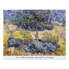 #Trees #Shrubs #Asylum #Garden #Vincent Van #Gogh #Poster #Print #postimpressionism #painting #oil #Paris #France #art #home #decoration #gift