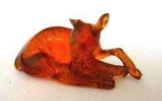 Antique Japanese amber netsuke-A Beautiful FAWN/DEER resting,signed