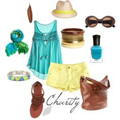 turquoise/ yellow...summer. shorts..outfit