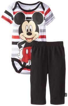 Disney Baby-Boys Newborn Disney Mickey Mouse Soft Bodysuit and Pant Set, Black, 6/9 Months