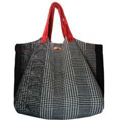 Einkaufstasche, Shopping Bag I Stoff Glencheck mit roten Samthenkel http://editee.de/specials.html