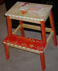 Hand Painted Rooster step stool