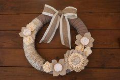 Rustic Wreath Yarn Wreath Burlap Ribbon 014 by KKeithDesigns
