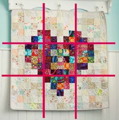 This pixelated heart patchwork quilt is a great project for beginning quilters. Tips for layout and making your own pixelated heart quilt. Heart Quilt Pattern, Quilt Block Patterns, Quilt Blocks, Quilting Tutorials, Quilting Projects, Quilting Designs, Quilting Tips, Scrappy Quilts, Mini Quilts