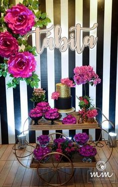Moms 50th Birthday, 60th Birthday Party, Birthday Table Decorations, Balloon Decorations, Candy Bar Wedding, 21st Party, Giant Paper Flowers, Birthday Pictures, Holidays And Events