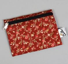 SMALL ZIP POUCH, SMALL ROSES DISCHARGE PRINT, RED :: HICKOREE'S HARD GOODS