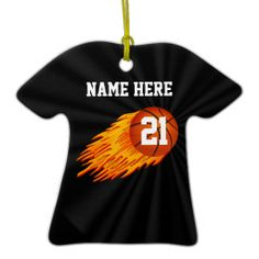 Flaming Personalized  Basketball Ornaments with YOUR NAME and Jersey NUMBER.  More Custom Basketball Stuff CLICK HERE: http://www.zazzle.com/littlelindapinda/gifts?cg=196808750908670951&rf=238147997806552929*/   Type it into the 4 Text Box Templates (2 on the Front and 2 on the back of the Basketball ornament). Great Personalized Basketball Gifts for Players, Fans and Coaches.