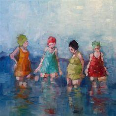 Enjoying the Summer >< Angela Morgan Painting People, Figure Painting, Illustrations, Illustration Art, Creation Art, Beach Art, Figurative Art, Painting Inspiration, Female Art