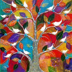 Margaret Blanchett folk art tree birds