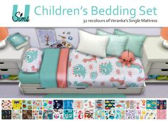 I've been working on this set between other projects for quite some time now and am happy to say it's finallyfinished!Set includes:32 bedding 'childish' bedding recolours of the single separated mattress by veranka-s4ccWorks with the design tool (thank you so much saudade-sims4 for the suggestion!)Base game compatibleCredits:Single Mattress by veranka-s4ccOctoplushie - Mesh by lina-cherie, recolour by me (coming soon)Pillows - Mesh by Severinkawithrecolours by meSimlish Book by…