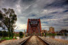"""Train Bridge"" (HDR) by steini  Train bridge crossing over from West Monroe to Monroe, Louisiana."