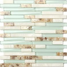 Glass Beach Style Shell Tile Sea Green Interlocking Kitchen Backsplash Mosaic #TSTMOSAICTILES #Beachstyle
