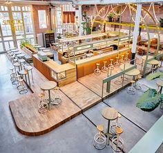 Studio Modijefsky, Kanarie Club, Amsterdam Bar Design, Salon Design, Melbourne Cafe, Coffee Restaurants, Restaurant Interior Design, Cafe Restaurant, Industrial Restaurant, Color Of The Year, Commercial Interiors
