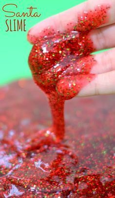 Santa Slime is super sparkly and smells just like Christmas. Such a fun way for kids to play this holiday!} Many holiday slime recipes. Preschool Christmas, Noel Christmas, Christmas Crafts For Kids, All Things Christmas, Winter Christmas, Christmas Themes, Holiday Crafts, Holiday Fun, Christmas Decorations