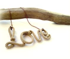 Rustic Love Pendant Necklace Wrapped Crochet by vanessahandmade, $29.00