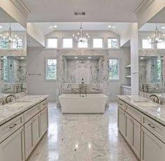 Glamorous Bathroom Design Photo by Divine Design Decor ( Luxury Master Bathrooms, Bathroom Design Luxury, Dream Bathrooms, Beautiful Bathrooms, White Bathrooms, Master Bathroom Designs, Mansion Bathrooms, Mansion Kitchen, Master Baths