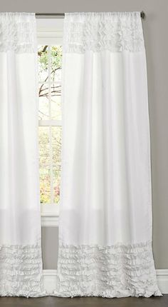 Rows of hand-crafted horizontal ruffles both on the top and bottom create a curtain that will instantly turn any room from ordinary to special. Made with the highest quality brushed poly, these curtai