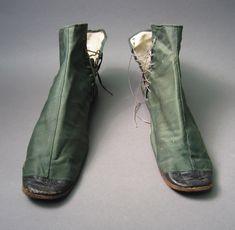 England, Europe  Date: 1804-1840 Skor, Green Shoes, Vintage Shoes, Combat Boots, Finger, England, Footwear, Europe, Costume