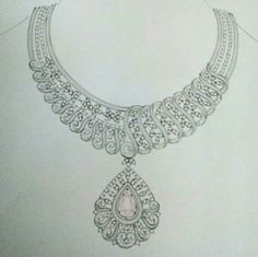 . Lotus Jewelry, Pearl Jewelry, Indian Jewelry, Jewelry Art, Fine Jewelry, Jewelry Necklaces, Jewelry Design, Jewellery Sketches, Jewelry Drawing