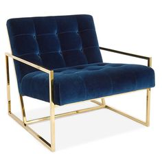 "Pared down geometry in polished brass meets swanky navy velvet in our Goldfinger Collection. A little bit '70s, a lot today. Goldfinger is the winning ticket that adds Modernist rigor to your Park Ave pad or swanks up your mid-century abode. The pitched seat and soft, button tufted cushions make our Goldfinger Chair surprisingly cozy and comfy. Seat height: 15.7"" Polished stainless steel, brass finish Navy velvet upholstery, 100% cotton Tight seat and back cushion"