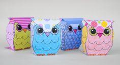 Cute owl Gift Box Set Owl Favor Box Printable for Owl
