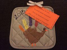 Dollar tree handprint turkeys with tag.