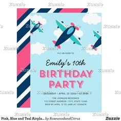 Pink, Blue and Teal Airplane Birthday Party Card Airplane birthday invitation featuring three pink, blue and teal airplanes flying in the sky above the clouds with a matching pink, blue and white stripes back side. It's the perfect birthday party invitation for the aspiring pilot to celebrate any age. Personalize this birthday invitation by replacing the placeholder text to add your information. For more options such as to change the font and it's size/color or the spacing between letters…