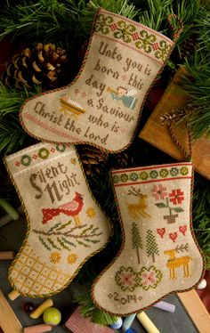 Lizzie Kate Flora McSample's 2014 Stockings - Christmas Counted Cross Stitch Chart, Pattern with Embellishments Cute Christmas Stockings, Cross Stitch Christmas Stockings, Cross Stitch Stocking, Christmas Cross Stitches, Mini Stockings, Lizzie Kate, Counted Cross Stitch Patterns, Cross Stitch Designs, Cross Stitch Embroidery
