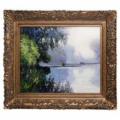 "Evoke Impressionist style in your living room or office with this gorgeous hand-painted canvas, showcasing a colorful reproduction of Claude Monet's Morning on the Seine Near Giverny.   Product: Framed wall artConstruction Material: Canvas, solid wood and oil paintColor: Gold frameFeatures: Reproduction of original art by Claude MonetDimensions: 29.5"" H x 33.5"" W x 2"" D Cleaning and Care: Wipe clean with a damp cloth"