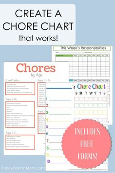 Free Printable Chore Charts for Kids! Includes blank forms and even a list of Chores by Age! Here are some things to keep in mind when creating your own chore chart for your children.