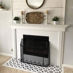 Decorating Trend 2018 Stenciled and Painted Fireplace Hearth Jewel Cement Tile Stencils Cutting Edge Stencils Fireplace Hearth Tiles, Paint Fireplace Tile, Basement Fireplace, Wooden Fireplace, Fireplace Redo, Shiplap Fireplace, Victorian Fireplace, Farmhouse Fireplace, Fireplace Remodel